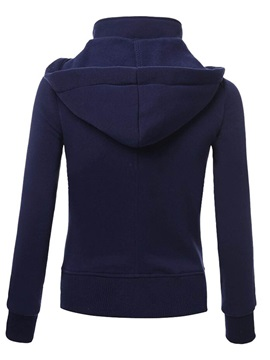 Plain Double-Breasted Long Sleeve Hoodie