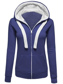 Casual Multi Color Zippered Hoodie