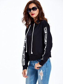 Stylish Letter Print Loose Hoodie