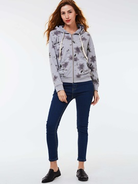 Stylish Floral Imprint Long Sleeve Hoodie