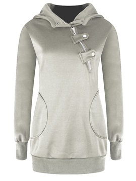 Stylish Asymmetric Button Loose Hoodie