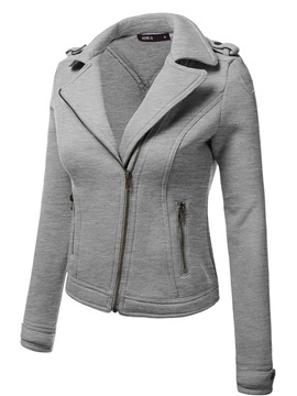 Stylish Zipper Notched Lapel Hoodie