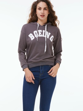 Stylish Letter Print Short Hoodie