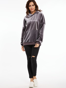 Chic Letter Print Loose Hoodie