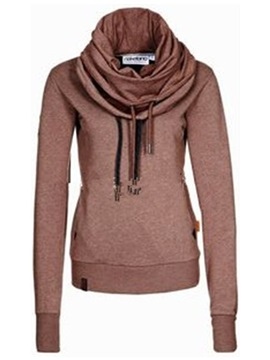 Stylish Heap Collar Plain Hoodie
