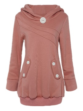 Stylish Button Pullover Hoodie