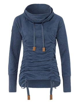 Stylish Plain Drawstring Turtleneck Pleated Hoodie