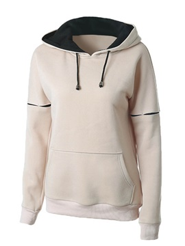Simple Color Block Pullover Hoodie