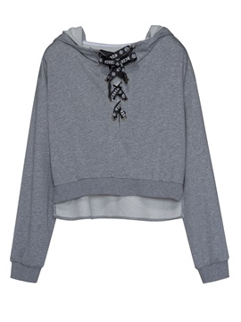 Stylish Plain Lace Up Hoodie