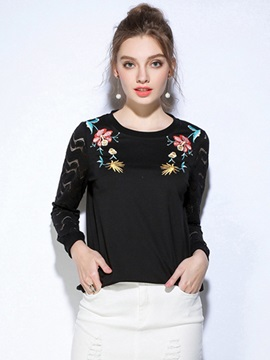 Round Neck Embroidery Lace Patchwork Hoodie