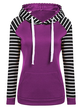 Casual Stripe Color Block Patchwork Hoodie