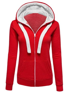 Hooded Stylish Plain Zipper Hoodie