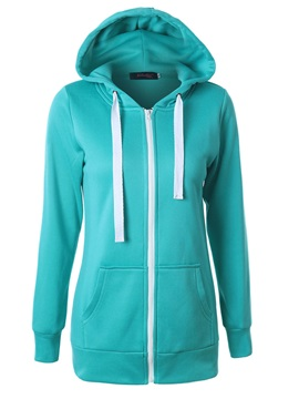 Slim Plain Zipper Mid-Length Cool Hoodie