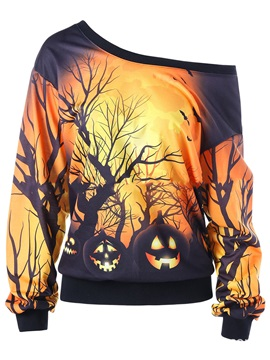 Oblique Collar Halloween Cool Hoodie