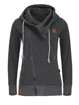 Multi Colors Oblique Zipper Hooded Women's Hoodie