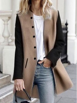 Long Sleeve Loose Patchwork Overcoat