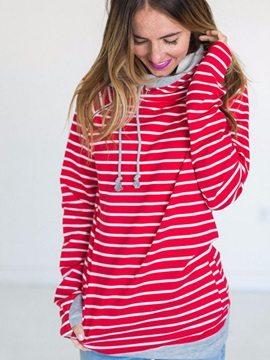Hooded Long Sleeve Mid-Length Stripe Hoodie