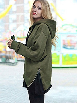 Loose Plain Zipper Thick Cool Hoodie
