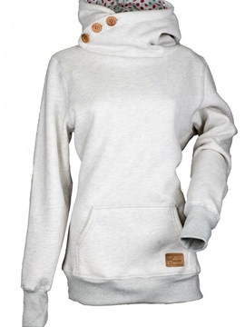 Plain Mid-Length Button Cool Hoodie