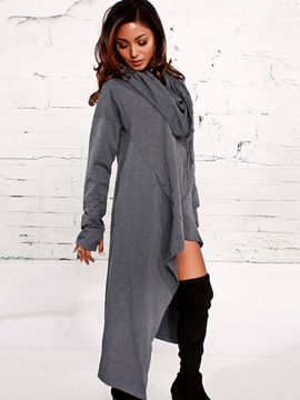 Long Asymmetric Hooded Women's Hoodie