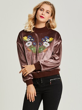Round Neck Floral Embroideried Pullover Women's Hoodie