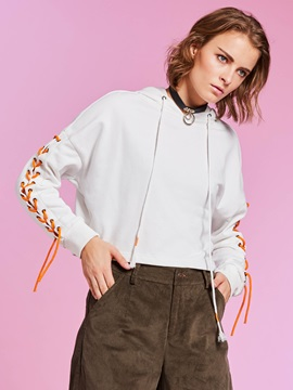 Loose Drawstring Lace-Up Plain Women's Cropped Hoodie