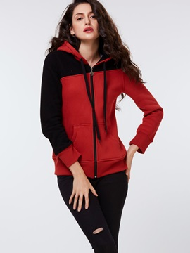 Tidebuy Hooded Color Block Zipper Women's Hoodie