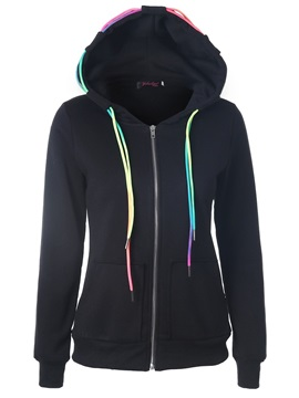 Lace Up Zipper Pocket Women's Hoodie