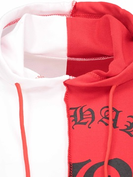 Color Block Letter Print Women's Cropped Hoodie