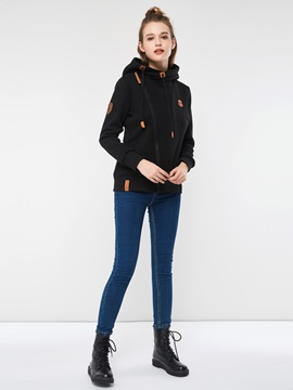 Fall Zipper Casual Turtleneck Women's Hoodie
