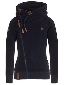 Fall Zipper Casual Turtleneck Plus Size Women's Hoodie
