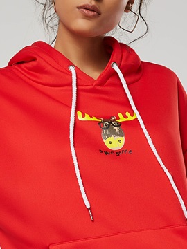 Chritmas Cartoon Print Long Sleeve Pocket Women's Hoodie