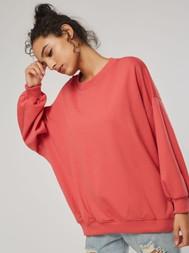 Loose Round Neck Mid Length Women's Sweatshirt