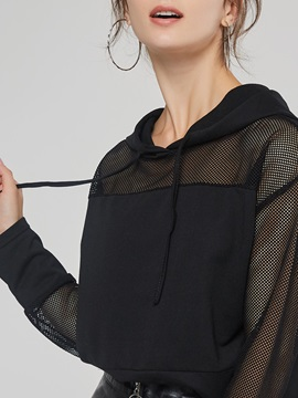 See-Through Patchwork Cropped Women's Hoodie