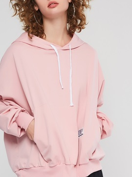 Hooded Plain Long Batwing Sleeve Women's Hoodie