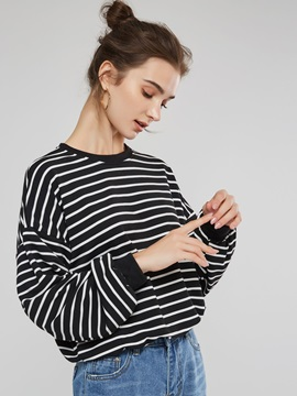 Pinstriped Long Seeve Loose Women's Sweatshirt