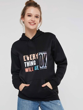 Letter Print Fleece Long Sleeve Women's Hoodie