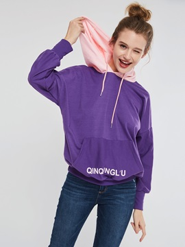 Mid-Length Letter Print Pullover Women's Hoodie