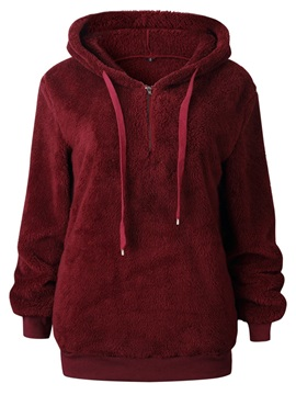Zipper Velvet Plain Thick Standard Women's Hoodie