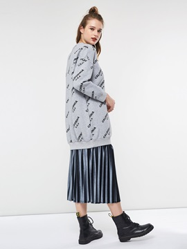 Letter Print Round Neck Loose Women's Hoodie