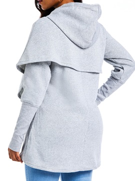 Plain Mid-Length Hooded Asymmetrical Pockets Women's Hoodie