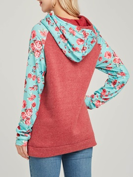 Floral Patchwork Hooded Mid-Length Women's Hoodie
