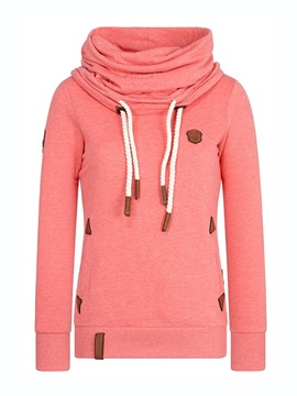 Plain Pleated Heap Collar Long Sleeve Women's Hoodie