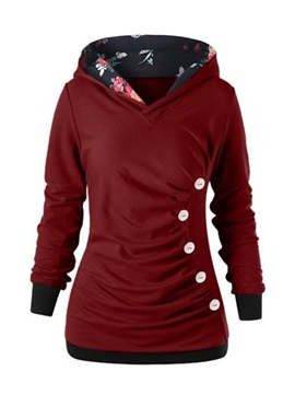 Pleated Buttons Slim Hooded Women's Hoodie