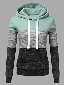 Color Block Pullover Long Sleeve Women's Hoodie