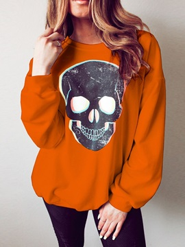 Halloween Skull Print Regular Long Sleeve Fall Women's Hoodie