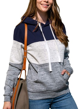 Regular Patchwork Color Block Standard Fall Women's Hoodie