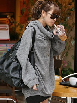 Loose Turtle Collar Solid Color Plus Size Hoodie