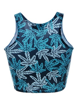 Special Leaves Pattern Short Tank Top