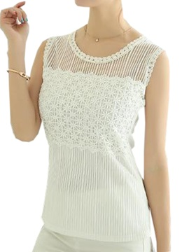 See-through Collar Lace Tank Top